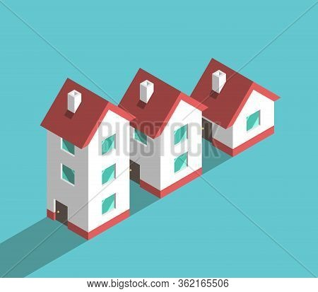 Isometric Houses Row Decreasing On Turquoise Blue. Downsizing, Price Drop, Investment And Real Estat