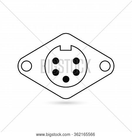 9 Pin Connector Icon Colored Symbol. Premium Quality Isolated Socket Element In Trendy Style.