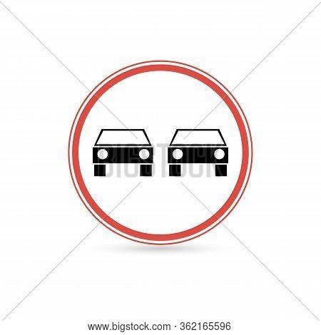 Prohibited Overtaking Icon. Flat Illustration Of Prohibited Overtaking Vector Icon For Web.