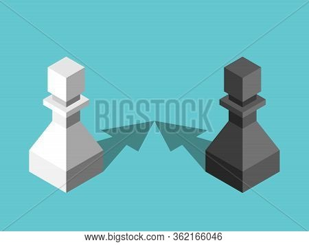 Two Isometric Opposite Pawns With Arrow Shaped Shadows Approaching To Each Other. Attraction, Relati