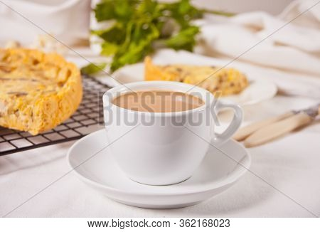Cup Of Coffee With Milk With Homemade Freshly Tasty French Quiche Lorraine Tart Pie With Chicken Mea