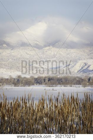 The View Of Longs Peak The Morning After A Spring Snowstorm Taken From Longmont Colorado