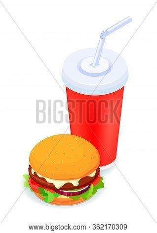 Burger And Soda Isometric Illustrated 3d Vector Icon On White. Creative Design Idea.