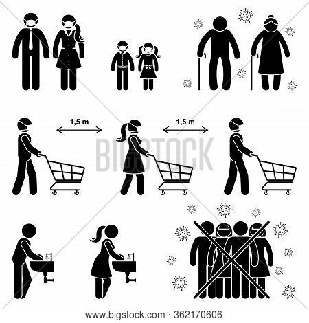 Coronavirus Stick Figure Man, Woman, Children, Kid, Grandparent Icon Sign Symbol Vector Illustration