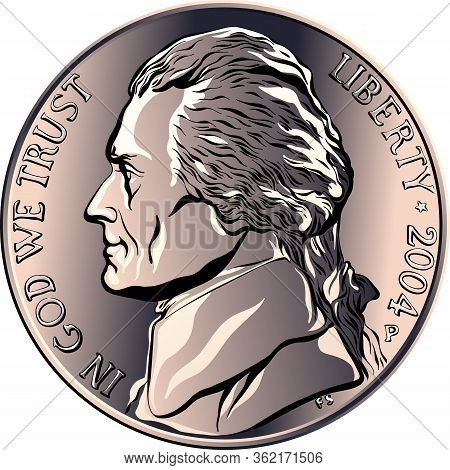 Nickel, American Money, United States Five-cent Coin With Profile Thomas Jefferson, Third President