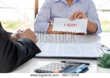 Businessman Sending A Resignation Letter To The Executive Employer Boss On Desk, Change Of Job, Unem