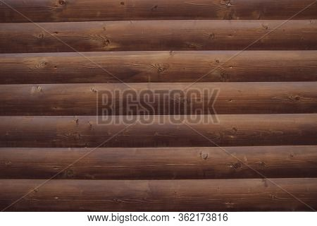 Picture Of An Old Log Cabin Wall Texture. Wood Log Background.