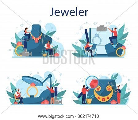 Jeweler And Jewelry Concept Illustration. Idea Of Creative People