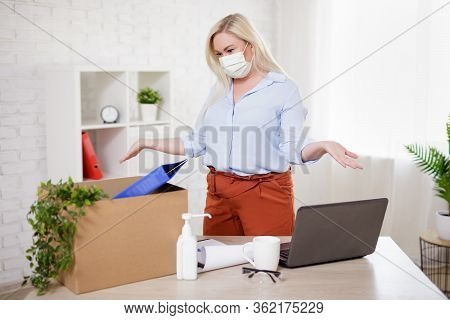 Business, Financial Crisis, Health Care, Safety And Corona Virus Pandemic Concept - Woman In Mask Pa
