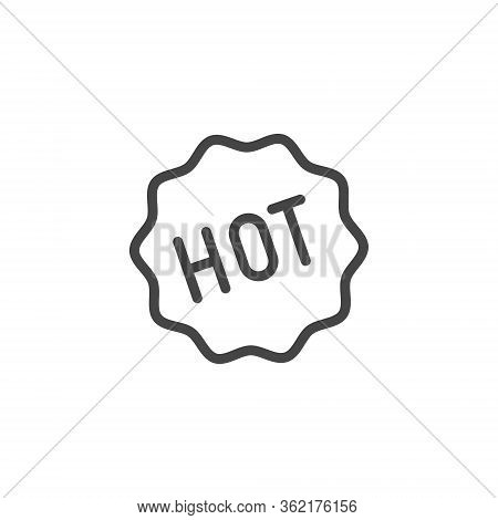 Sticker Hot Icon. Pictogram For E-commerce Or Printed Products In Line Style. Label For Services, On