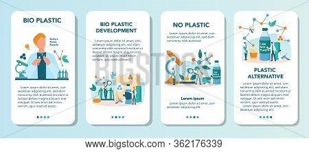 Biodegradable Plastic Invention And Developmentmobile Application Banner Set.