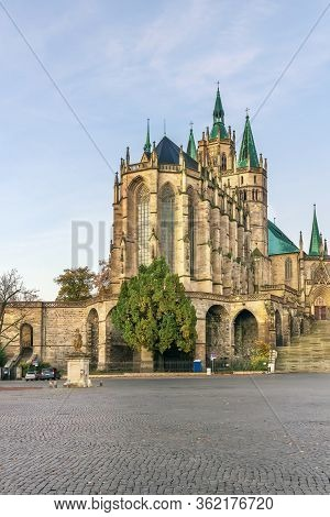 The Catholic Erfurt Cathedral Is A 1200 Year Old Church Located On Cathedral Hill Of Erfurt, In Thur