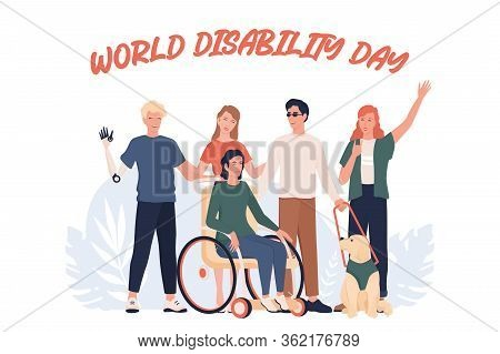 World Disability Day. Disabled People Standing Together.