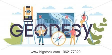 Geodesy Science Typographic Header Concept. Land Surveying