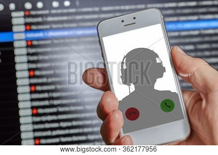 Advertising Unwanted Call To A Mobile Phone On A Dark Background