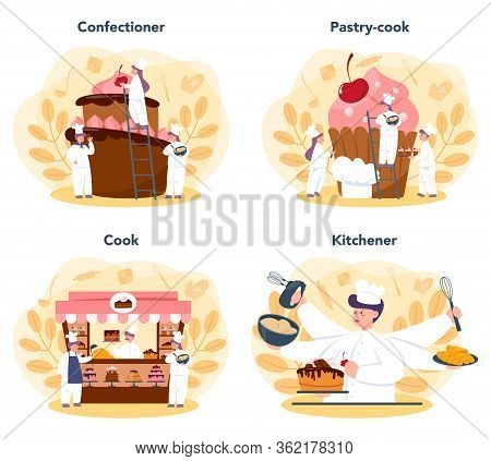 Confectioner Set. Professional Confectioner Chef. Sweet Baker Cooking