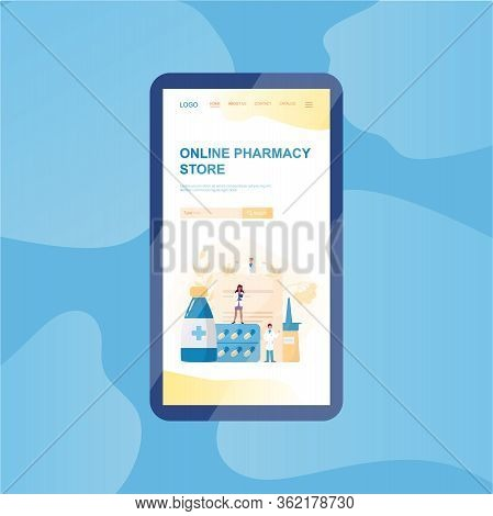 Online Pharmacy Web Banner On Phone Screen. Medicine And