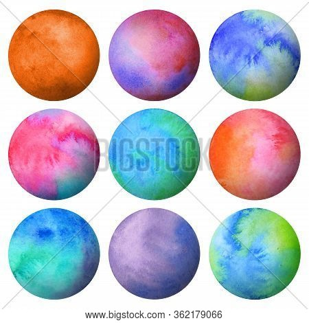 Set Of Watercolor Colored Bright Planets Isolated On White Background. Watercolour Hand Drawn Abstra