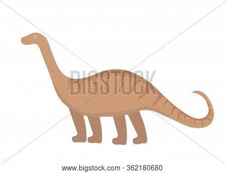 Apatosaurus Icon Flat Style. Isolated On White Background. Illustration