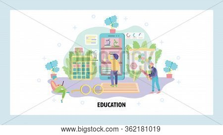 Home Education And School Classroom. Students In A Room Studying. Digital School, Knowledge, Virtual