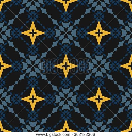 Floral Grid Seamless Pattern. Abstract Geometric Texture In Dark Blue, Yellow And Black Color. Simpl