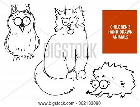 Cute Hand Drawn Cartoon Cat, Owl, Hedgehog For Baby And Children Card Designs Or Fabric Print. Line
