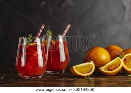 Two Glasses Of Campari Gin Spritz. Cocktail Of Sweet, A Touch Of Bitter From The Campari And Gorgeou