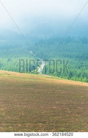 Aeriel View Of Morning Summer Meadow And Curvy Mountain Asphalt Road Going Through Thick Pine Forest