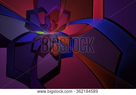 Abstract Stain Glass Flower Pattern. Illustration In Stained Glass Style With Abstract Swirls,flower