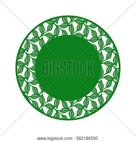 Vector Frame In The Shape Of A Circle With A Pattern Of Leaves And Copy Space (place For Text) In Th