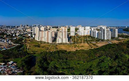 New-built Apartment Buildings In Suburb Area Of Saigon City