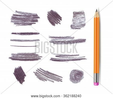 Vector Gray Graphite Pencil Stokes Set Isolated On White Background, Different Shape Textrures, Desi