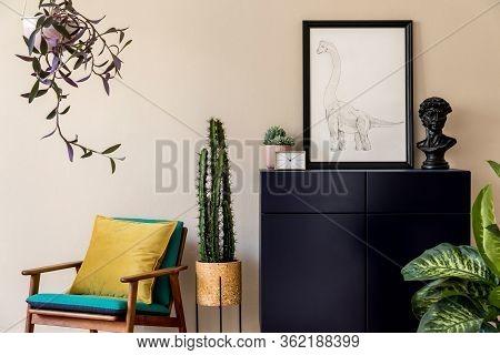 Interior Design Of Retro Modern Living Room With Stylish Blue Navy Commode, Cacti, Plant, Design Arm