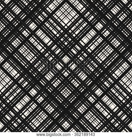 Vector Monochrome Seamless Pattern With Diagonal Cross Lines, Stripes, Square Grid, Lattice, Mesh, N