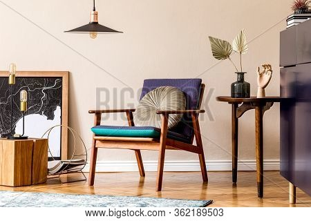 Interior Design Of Retro Modern Living Room With Stylish Blue Navy Commode, Cacti In Lastrico Pot, D