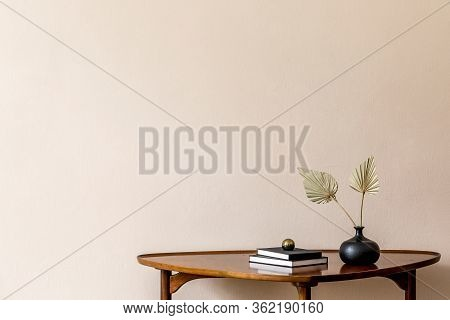 Stylish Composition On The Design Wooden Table With Gold Ball, Dried Flowers In Vase. Beige Backgrou