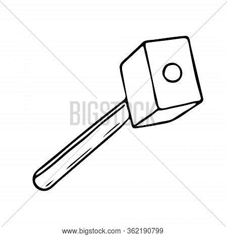 Hand-draw Black Vector Illustration Of Metallic Locksmith Tool Sledgehammer Isolated On A White Back