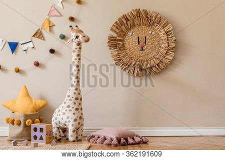 Stylish Scandinavian Interior Of Child Room With Natural Toys, Hanging Decoration, Design Furniture,