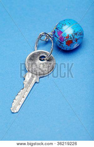 Globe And Key Chain