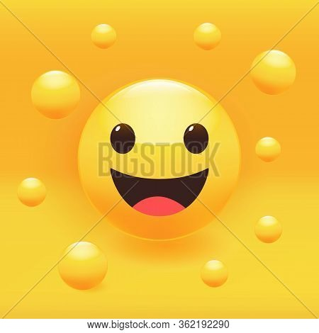 Smile Sticker Set, Including Such Expressions As Indifference Or Calm, Laugh, Surprise, Angriness, C