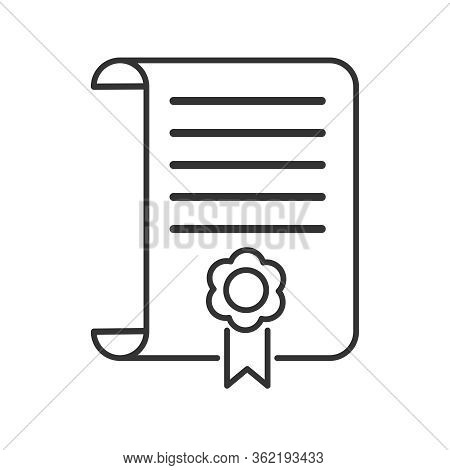 Vector Icon Of A Diploma, Diploma Or Certificate. A Simple Stock Design, Blank, Outline, Isolated On