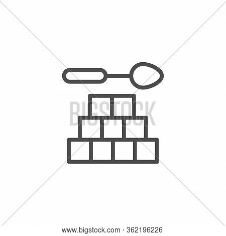 Refined Sugar Line Outline Icon Isolated On White. Sweet Crystal Cube. Vector Illustration