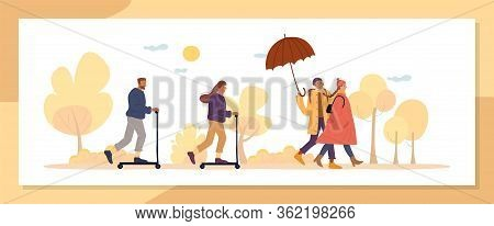 Active Autumn Season People Walk In Natural Park. Multiethnic Married Family Couple Going By Foot Un