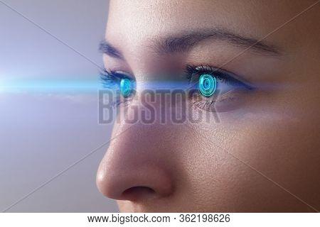 Iris Recognition Concept Smart Contact Lens. Female Eye Close Up With Smart Contact Lens With Digita
