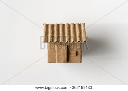 Model Of Cardboard House Isolated On White Background For Building, Mortgage, Real Estate Or Buying