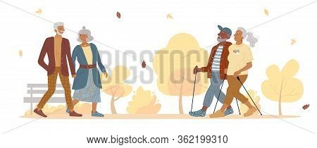 Old Mature People Couple Walking In Autumn Park. Aged Married Man Woman Doing Sport Nordic Walk. Fas