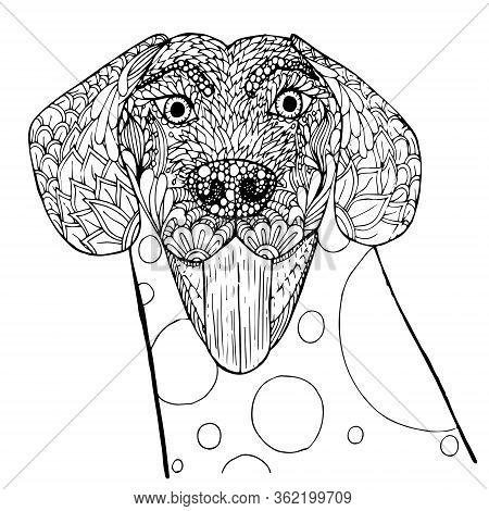 Dog Doodle. Pop Art Monochrome Pet Hand Drawn Art Design Stock Vector Illustration For Web, For Prin