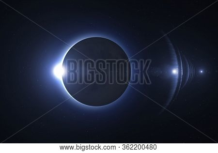 Solar Eclipse In Blue Toned. Solar Eclipse, Mysterious Natural Phenomenon When Moon Passes Between P