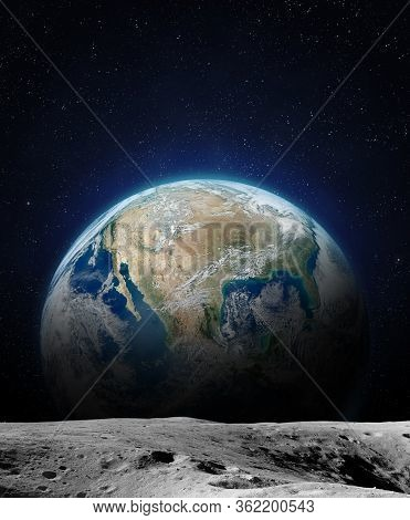 The Earth From Moon Surface. This Image Elements Furnished By Nasa.