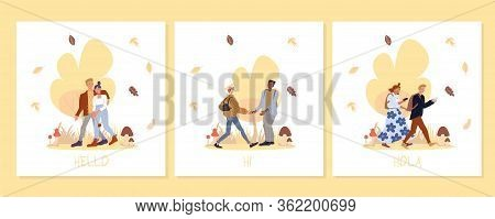 Young People In Forest On Greeting Creative Card Set. Girlfriend Boyfriend Couple Meeting. Man Woman